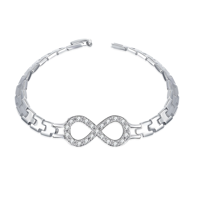Jei Trendy Branded 925 Sterling Silver Bracelets Wristband Belt With Bowknot Design Zircon Bangle For Woman