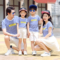 Family Matching Clothes Mother And Daughter Clothes Family Look Family Clothing Casual Striped O Neck Short