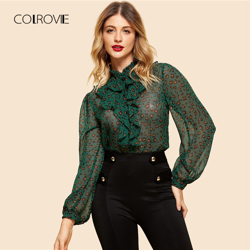 COLROVIE Green Leopard Print Ruffle Elegant Vintage Feminine   Blouse     Shirt   2018 Sexy Long Sleeve   Blouse   Women Tops And   Blouses