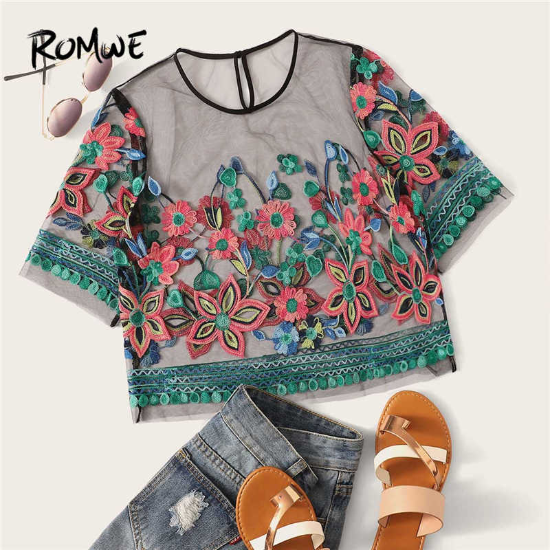 ROMWE Multicolor Floral Embroidery Sheer Mesh Blouse Women Summer 2019 Round Neck Short Sleeve Sexy Crop Tops And Blouses
