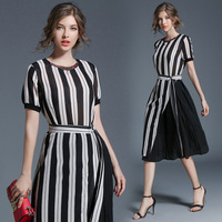 2017 Summer Style Of Europe And America Stripe Printing Waist Collar Waist Casual Dress