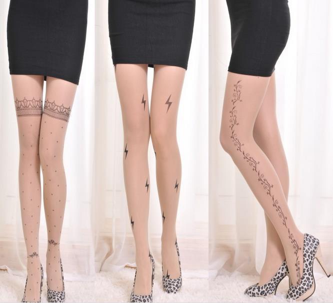 KL89 Fashion fake tattoo new print stockings women bow dot various pattern tights kawaii tattoo pantyhose