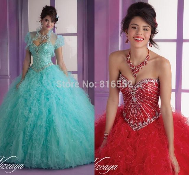 2017 New Sexy Azul Beading Red Vestidos Quinceanera Bola Vestidos Para 15 Anos Vestidos de Festa Com Jaqueta Vestido De 15 Años QA512