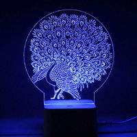 LED 3D Illuminated Lamp Abstraction Optical Illusion Desk Night Light With Remote Controller