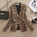 Spring/autumn 2017 Women designer Max brand Blazer leopard slim OL elegant blazer suit business jacket office coat high quality