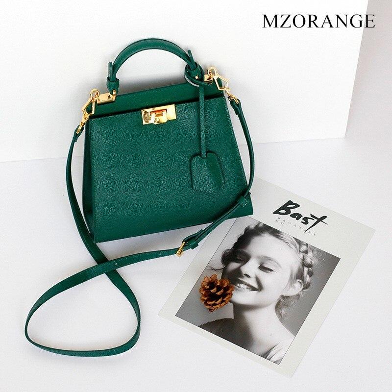 NEW Genuine Leather Women's Handbag 2018 Fashion Luxury Lock Design Crossbody Bags High Quality Cowhide Shoulder Bag Casual Tote