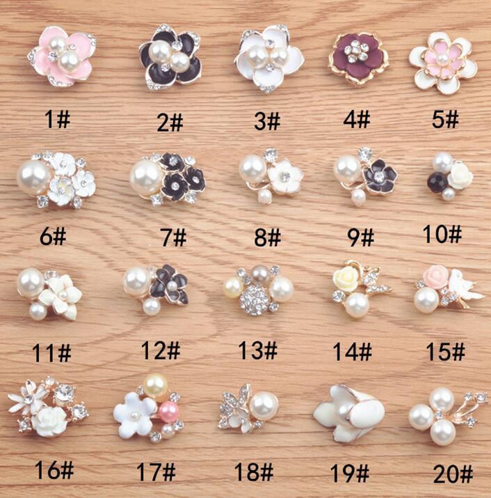 5 Flat Back Pearl Metal Button Crystal Embellishment DIY Wedding Hair Flower