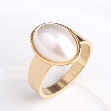 5d958489e Envío Gratis plateado oval imitación perla 316L anillos de boda de acero  inoxidable para hombres mujeres al por mayor