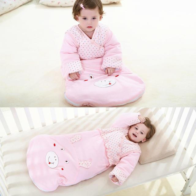 Outono inverno bebê recém-nascido saco de dormir para crianças anti kick manga destacável engrossado sacos de bebê dos desenhos animados infantil sleepsack c01