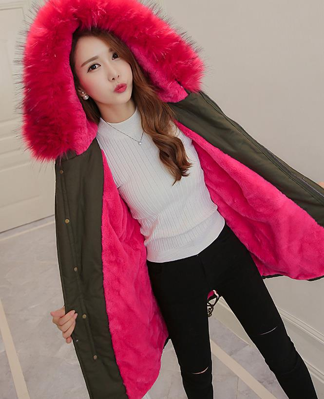 2017 Women Winter Coat Army Green Thick Warm Parkas Fur Collar Hooded Wool Liner Winter Coat