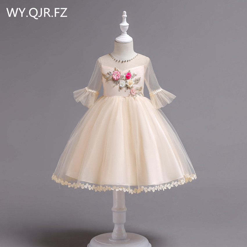 BH726X#Ball Gown Champagne   Flower     Girl     Dresses   European American short-sleeved embroidered children's princess   dress   wholesale