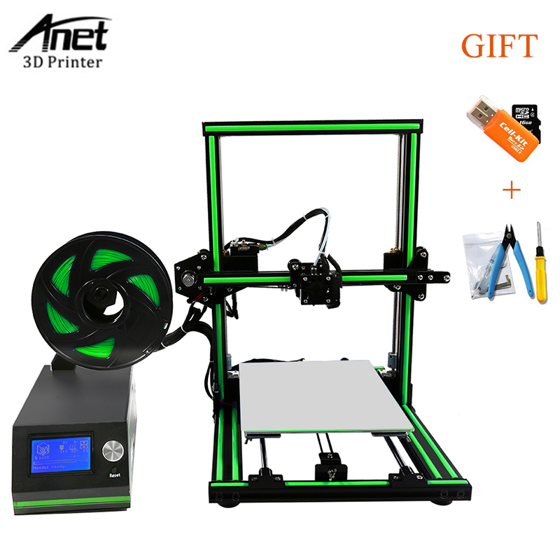 High Precision Anet E10 E12 3d Printer Large Printing Size Update Threaded Rod Reprap i3 3D Printer Kit With Free Filament(China)