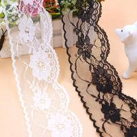 200ヤードdiyレーストリム刺繍ネット生地黒/白リボンループ縫製アクセサリー用誕生日結婚式の装飾#111