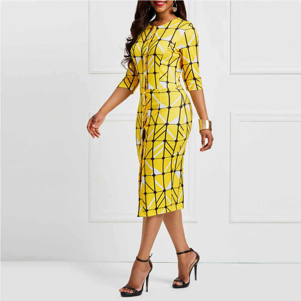 Modecrush Women Three Quarter Sleeve Plaid Pencil Midi Dress 2019 Summer OL Office Lady Single breasted O Neck Workout Dresses in Dresses from Women 39 s Clothing