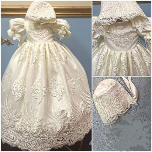 2016 Satin Puff Sleeves lace blessing dress for baby girl and boys christening gown robe baptism With Bonnet satin embroidered slip dress with robe