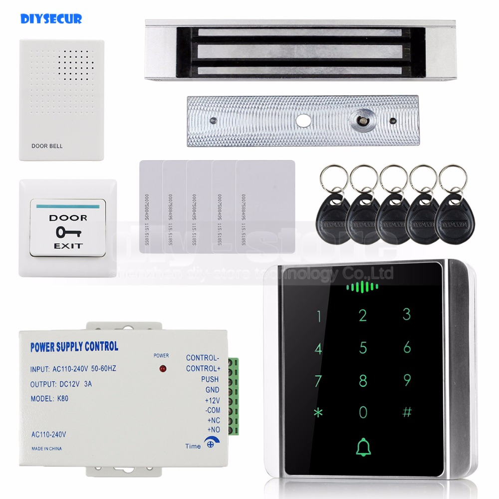 DIYSECUR 125KHz RFID Reader Password Keypad + Magnetic Lock Door Access Control Security System Kit 8000 User diysecur 280kg magnetic lock 125khz rfid password keypad access control system security kit exit button k2
