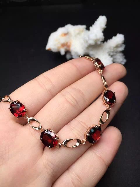 Em venda 925 sterling silver 100% perfact Natural garnet pulseira para as mulheres pulseiras finas jóias