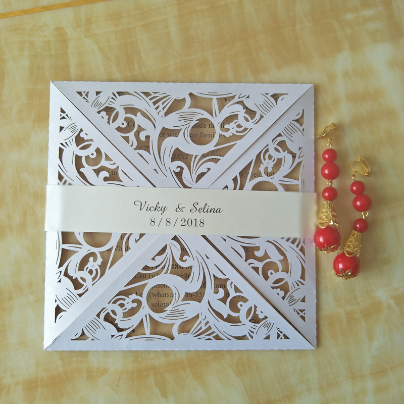 Free Customized Printing Wedding Invitation 4 Side Open