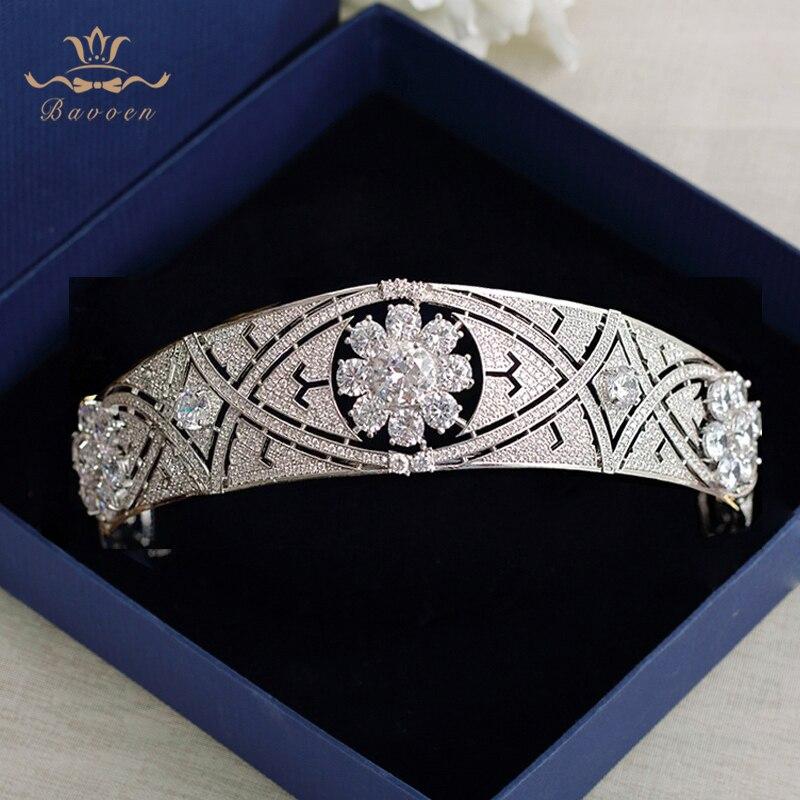цены Bavoen Meghan Markel Tiara Princess Bridal Tiaras Elegant Cubic Zircon Crown Headpieces For Women Wedding Hair Accessories