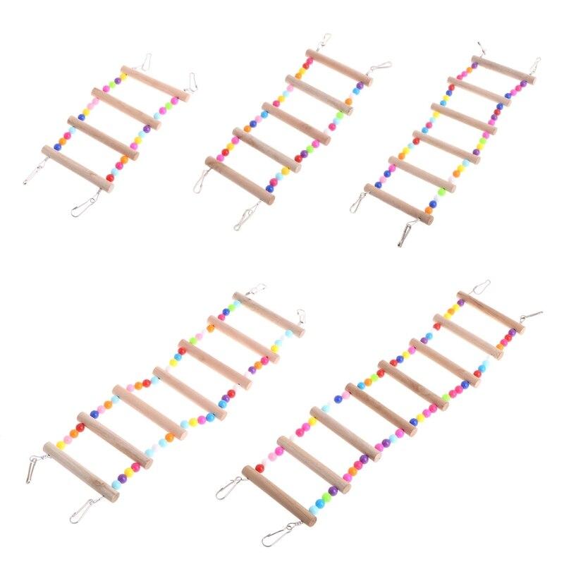 Товары для птиц домашних животных Попугаи Строительные лестницы восхождение игрушка висит разноцветными шариками из натурального дерева