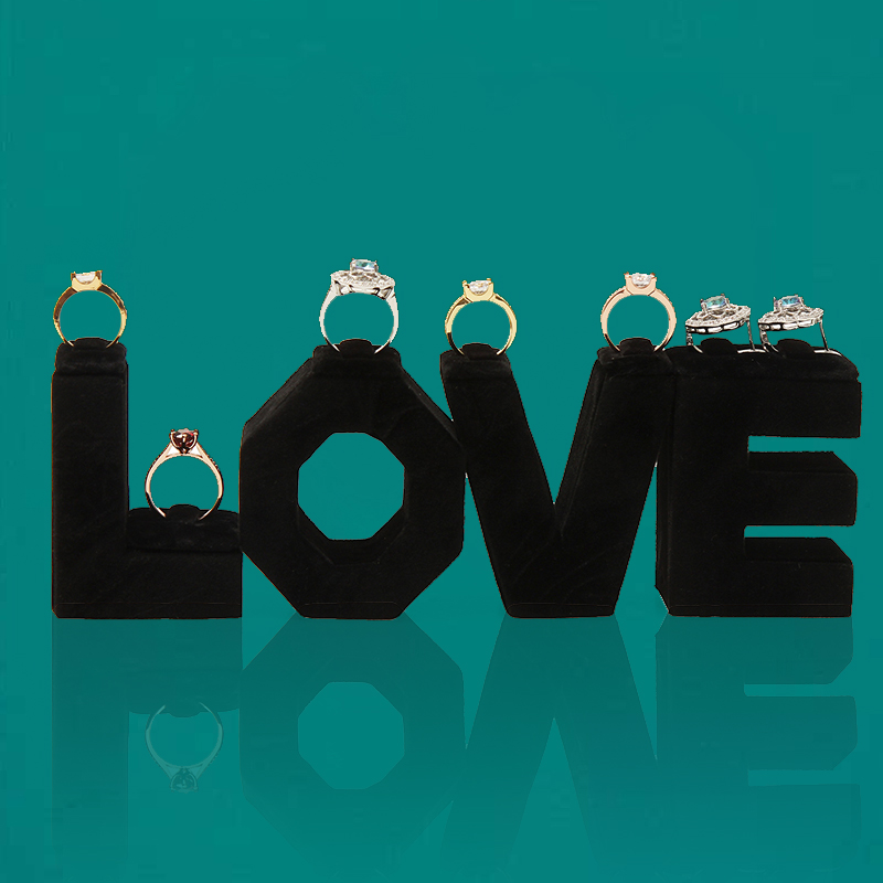 ANFEI New 4pcs Jewelry Display Love Shape Ring Stand Holder Show Case With High Quality Black Fabric Material Earrings Display