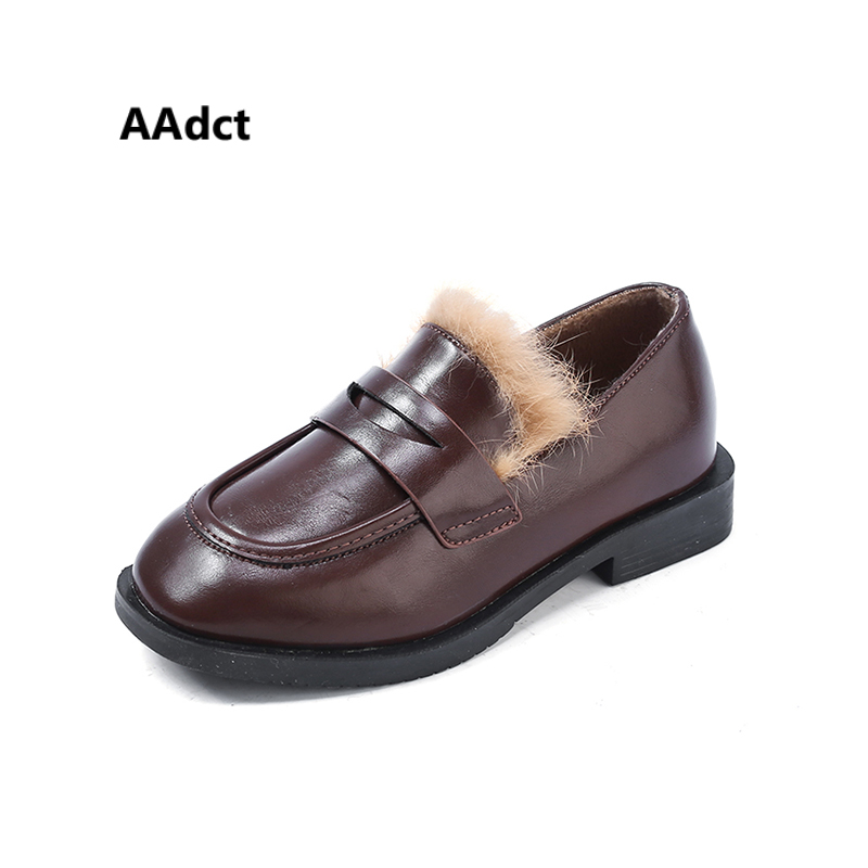 AAdct Leather cotton warm kids shoes Casual fashion shoes for girls and boys 2018 Winter New soft kids girls shoes kids boys girls casual shoes genuine leather elastic soft sole hook