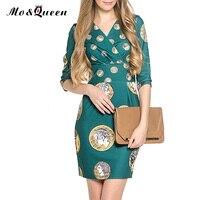 MOQUEEN Vintage Dress Women Fashion Print V-Neck Slim Ladies Dresses 2017 European Elegant Short Sweet Pencil Dress Size S-3XL
