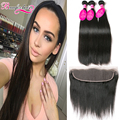 Indian Straight Virgin Hair 3 Bundles With Frontal Indian Virgin Hair Straight Lace Frontal Closure With Bundles Raw Indian Hair