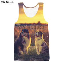 YX Girl Drop shipping 3d Dog Printing Vest for Men Summer Tank Top Men O-neck Sleeveless Tees Animal Dog Printed Tank Tops
