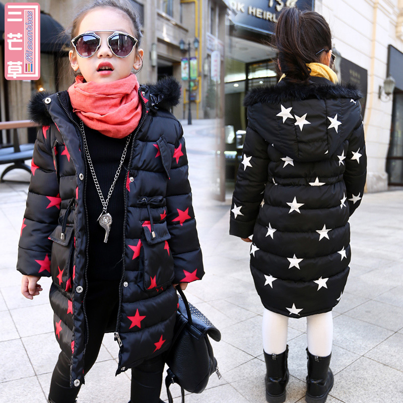 New Winter Baby Children Big Girls Thickened Down Long Cotton Padded Jacket Tide of Child Outerwear Inverno Coats 2017 women in the long down middle school students winter cotton thickened slim waist coat on behalf of the
