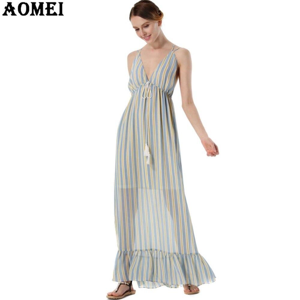 f2f41ac76d 2017 Spaghetti Strap Slip Dresses Women s Chiffon Sexy Backless Striped  Ruffles Blue Pink Maxi Long Beachwear Boho Dress Tunics-in Dresses from  Women s ...