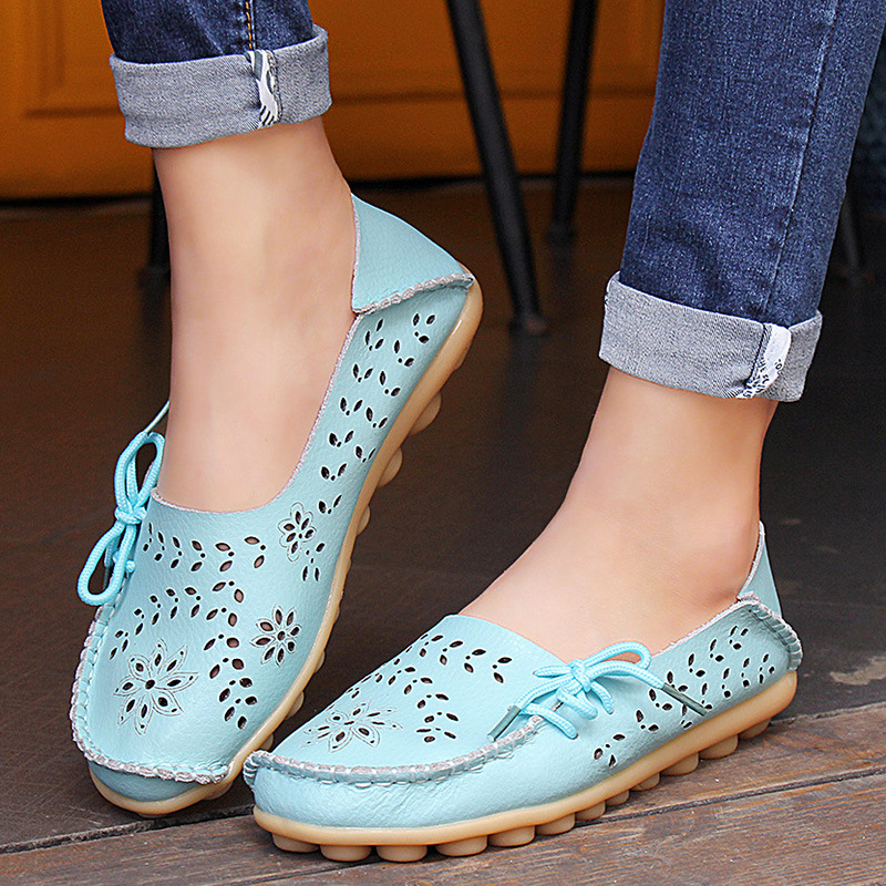 Womens Casual Genuine Leather Shoes Woman Loafers Slip-On Female Flats Moccasins Ladies Driving Shoe Cut-Outs Mother Footwear