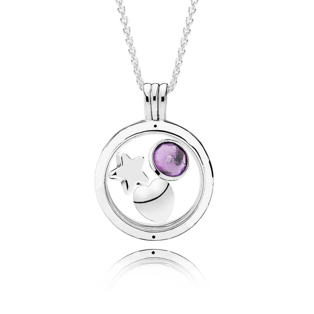 100% 925 Sterling Silver February Birthstone Floating Locket Gift Set FIt Charm Original Necklace Jewelry A set of prices
