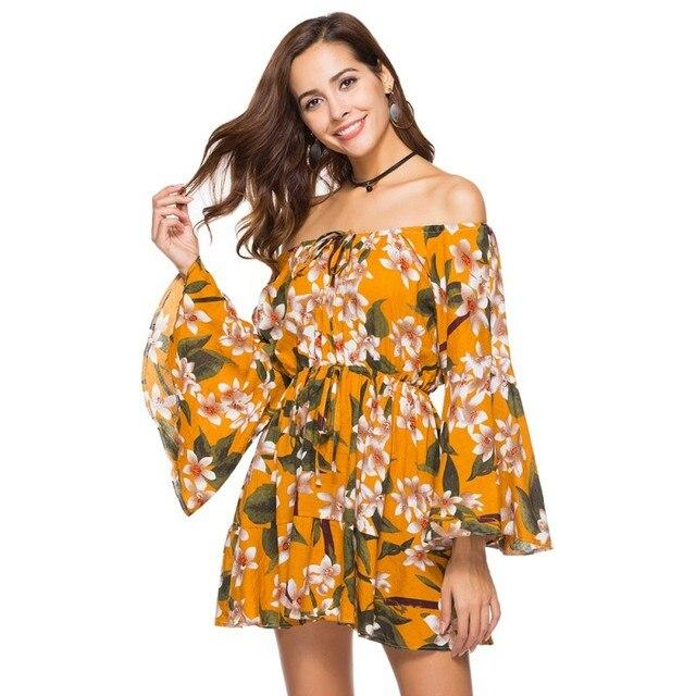 2e20cf735f71 Female Floral Print Mini Dress Summer Off Shoulder Boho Flowy Ruffle Sleeve Slash  Neck Sundress Women