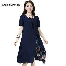 cotton linen vintage floral print clothes plus size women casual loose midi summer dress vestidos femininos 2018 dresses