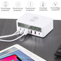 Asunflower 5 Port USB QC 3.0 Fast Wireless Charging Station Wall For Iphone Ipad USB Splitter Rapid Charging Socket Desktop Hub