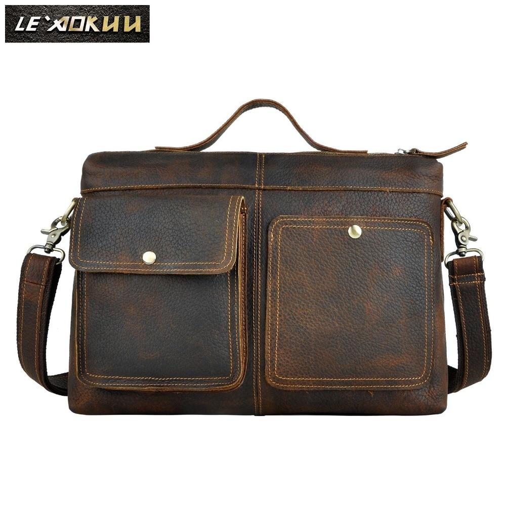"""Le'aokuu Men Real Leather Antique Style Black Briefcase Business 13"""" Laptop Cases Attache Messenger Bags Portfolio 2119"""