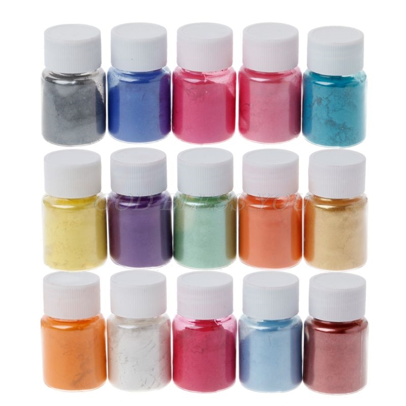 15 Colors Mica Powder Epoxy Resin Dye Pearl Pigment Natural Mica Mineral Powder Handmade Soap Coloring Powder