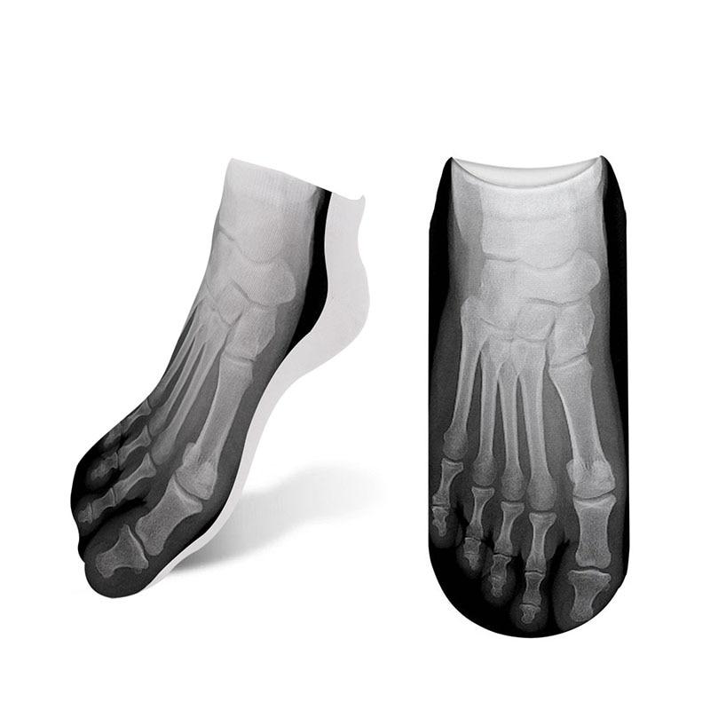 RUBU 2019 New Funny Socks Women 3D Printed Skeleton Socks Female Cotton Canvas Shoes Skull Foot Print Ankle Socks 7S-ZWS27