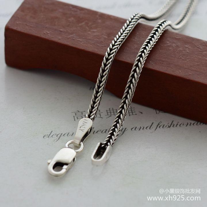 925 스털링 실버 목걸이, 두꺼운 1.6 mm 여우 꼬리 뱀 - 화인 주얼리 - 사진 1