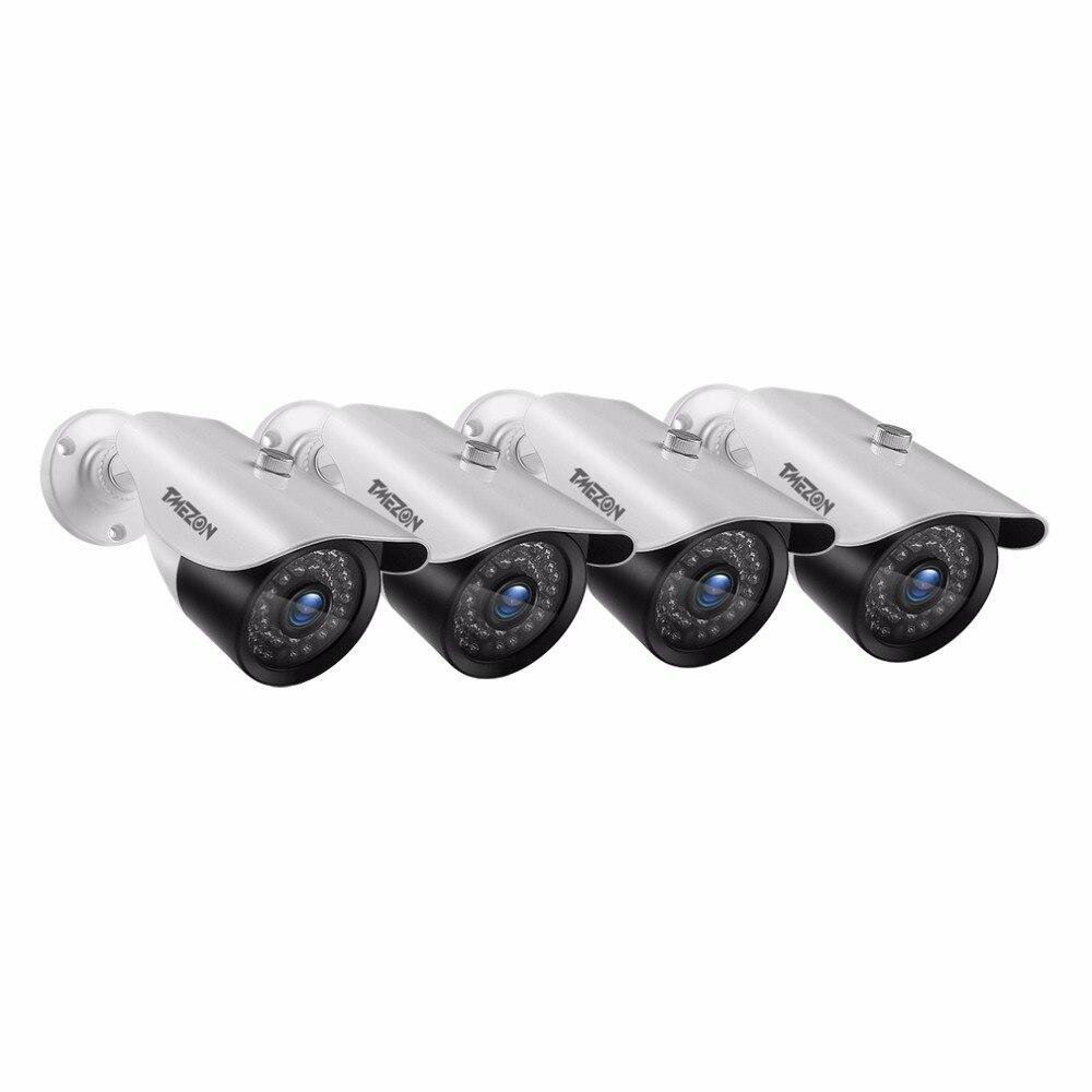 Tmezon 4 Pack/Set HD 1080 P Камера видеонаблюдения дома Системы открытый Водонепроницаемый Cam с Мощность адаптер 60FT удлинитель