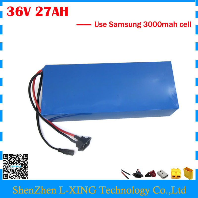 EU US no tax 36V li-ion battery pack 36V 27AH electric scooter battery with PVC Case use Samsung 3000mah cell with 2A Charger