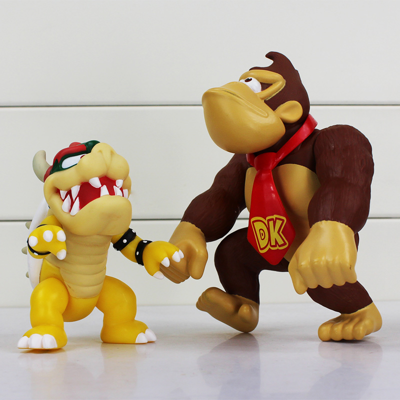 10CM-15CM Anime Super Mario Bros Koopa Bowser PVC Doll Donkey Kong Figure Toy Mario Monkey Chritmas Gift Brand New For Kids 1