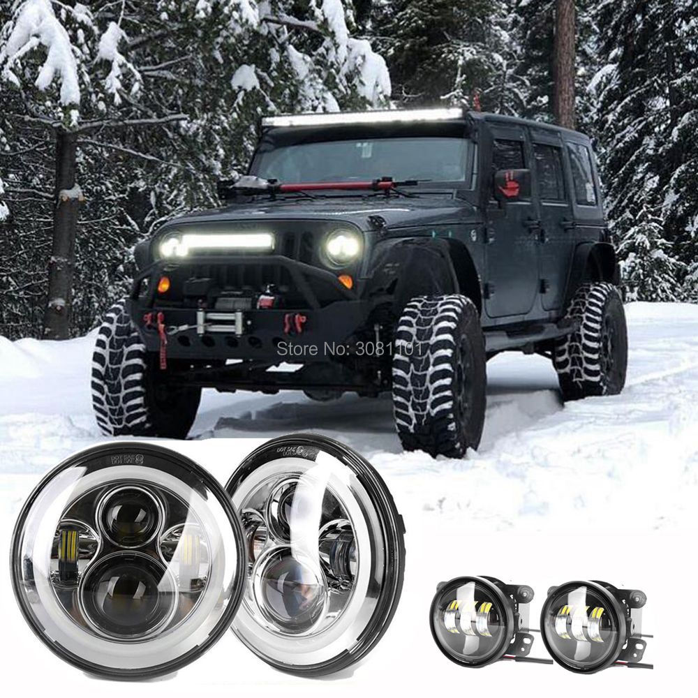 For Jeep Wrangler JK/JKU Rubicon/Sahara/CJ 7/CJ 8 Auto External Light Projector 7H4 LED Headlight +4Driving Fog Light