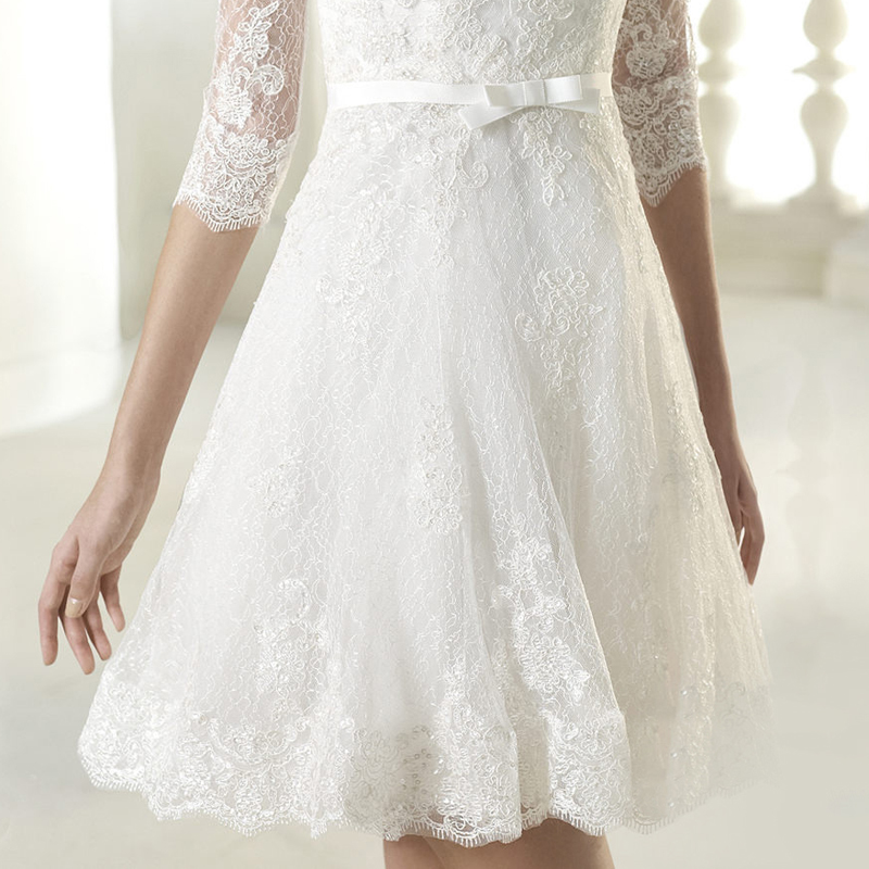 Romantic White Embroidery Lace Flowers Deep V Neck Half Sleeve Short  Princess Wedding Dress Mini Bridal Gown Engagement 10076-in Wedding Dresses  from ... d6d779161b9f