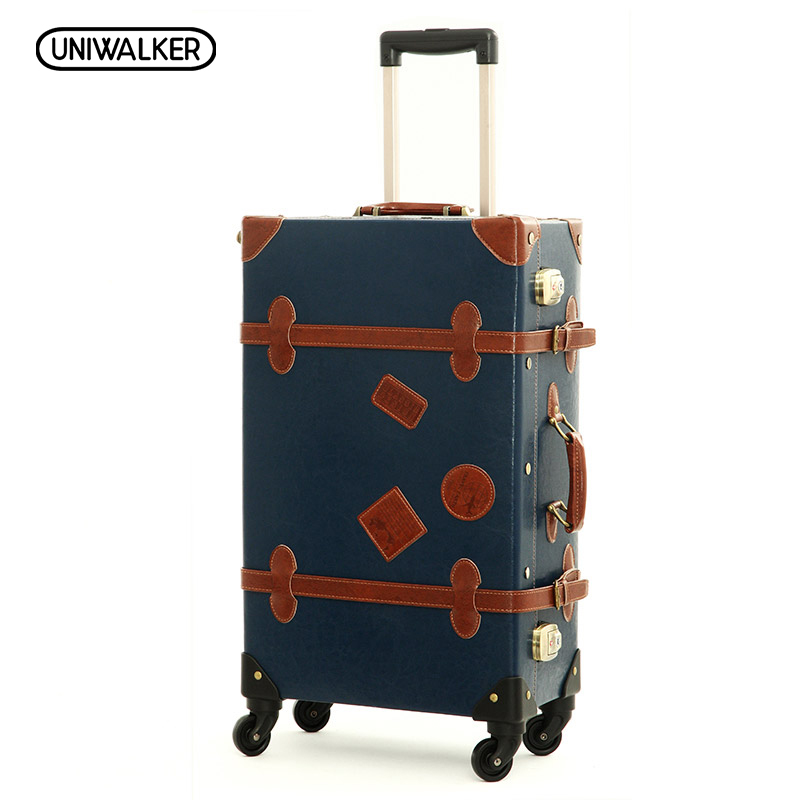 12 20 22 24 26 Drak Blue Retro Trolley Suitcase, 2PCS/SET Vintage Travel Trolley Luggage With Spinner Wheels With TSA Lock 12 20 22 24 26 gray retro trolley suitcase bags 2pcs set vintage travel trolley luggage with spinner wheels with tsa lock