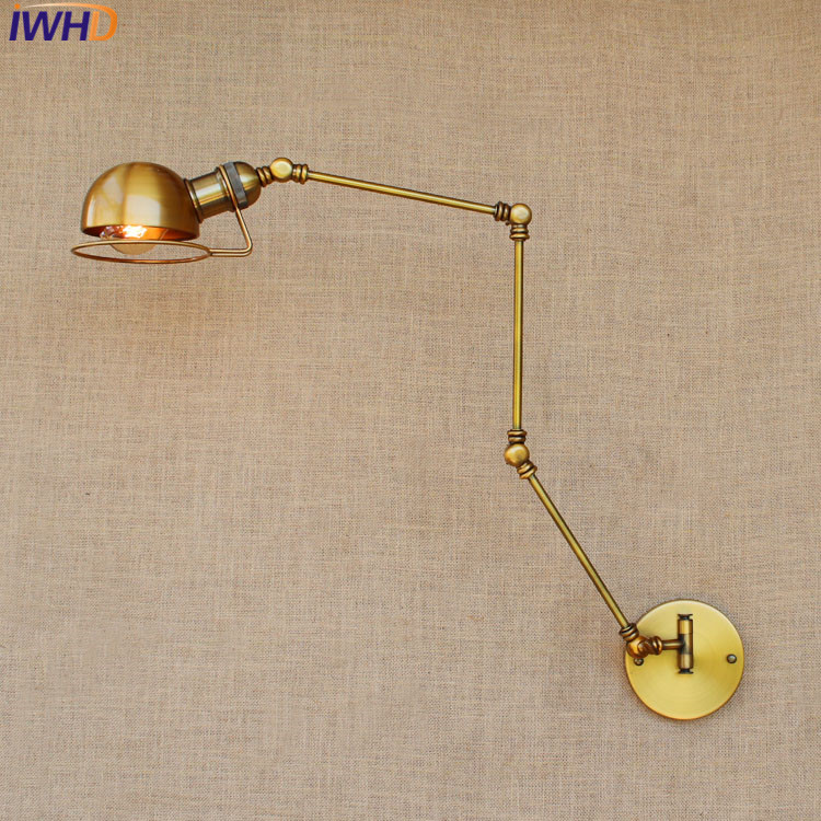 Loft Retro Industrial Iron Wall Lamp Led With Edison Bulb E27 Long