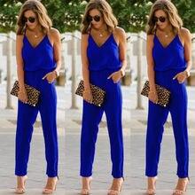 5754a895bc2 2019 New Slim Spaghetti Strap Wide Legs Jumpsuit Romper Bodysuit For Women  Female Sexy V Neck