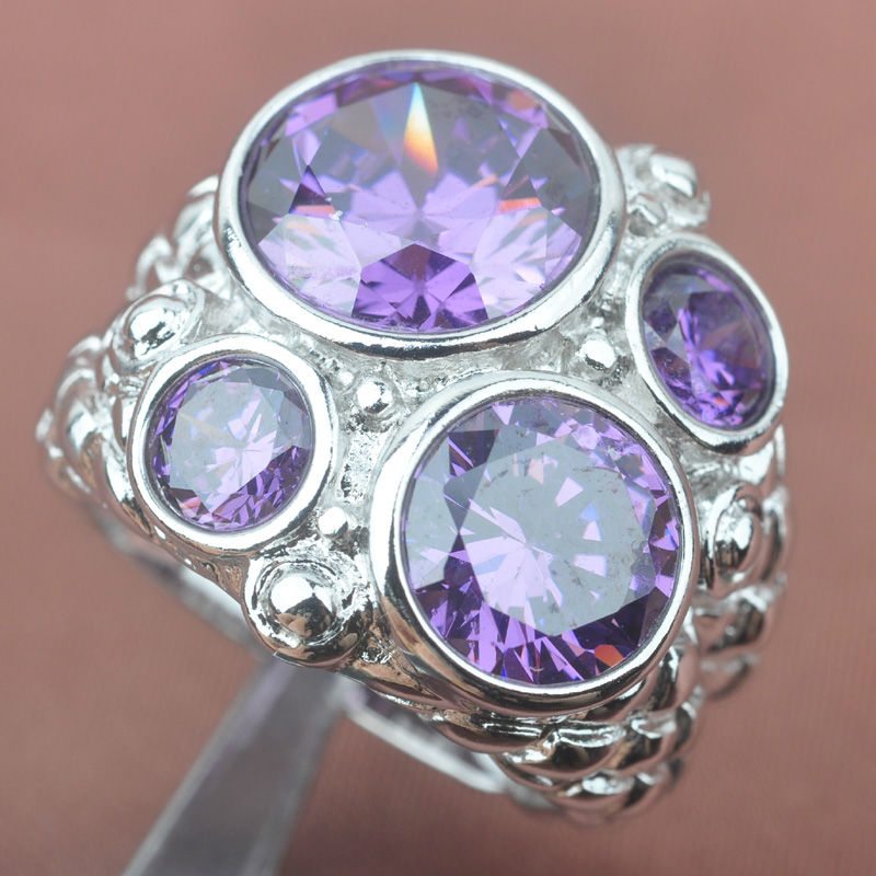 Huge Purple Cubic Zirconia Stamped  Silver For Women Jewelry Rings Free Shipping Size 6 7 8 9 SA021