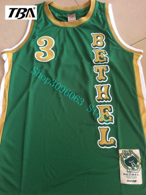 a096bccd44e0 NEW 3 Allen Iverson Bethel Throwback Basketball Jerseys High School All  Stitched Green Drop Ship Free Shipping